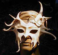 leather mask being sculpted