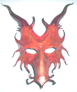 red dragon sculpted leather mask with horns