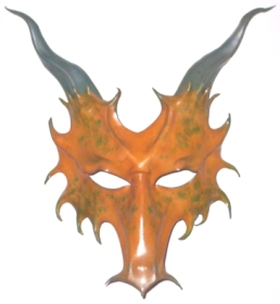 yellow dragon sculpted leather mask with horns